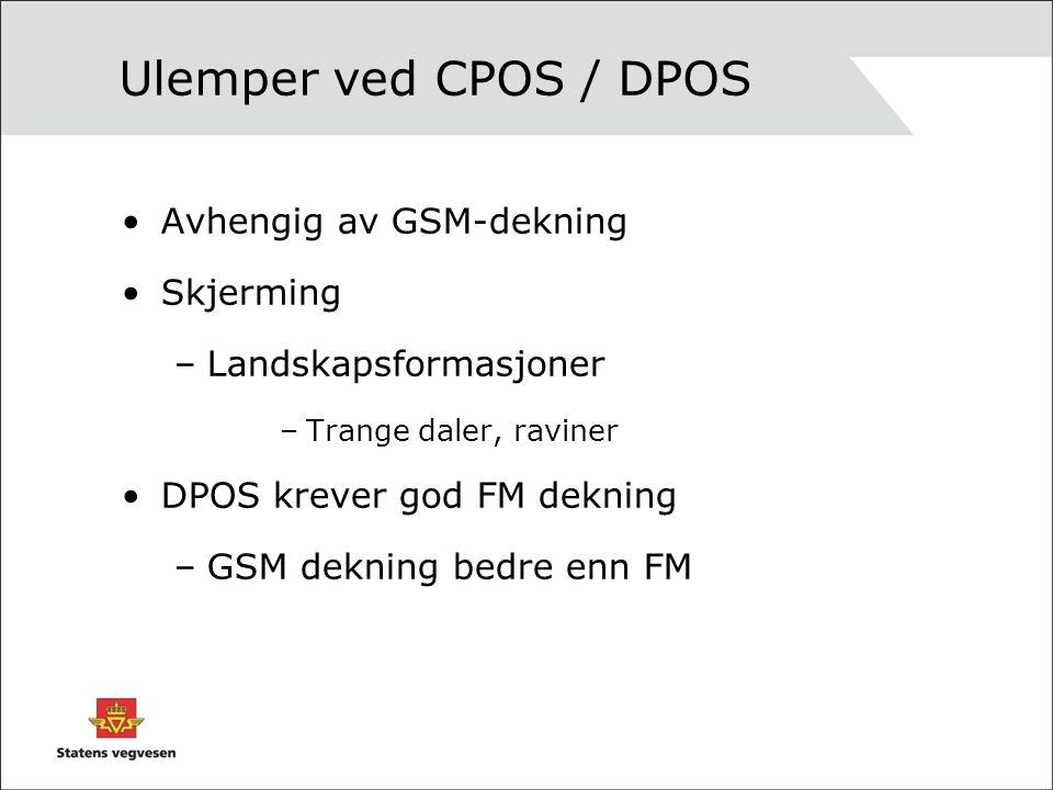 Ulemper ved CPOS / DPOS Avhengig av GSM-dekning Skjerming