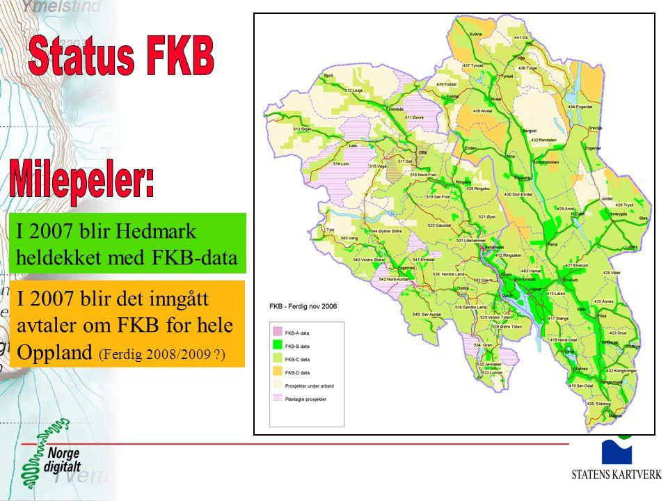 Status FKB Milepeler: I 2007 blir Hedmark heldekket med FKB-data