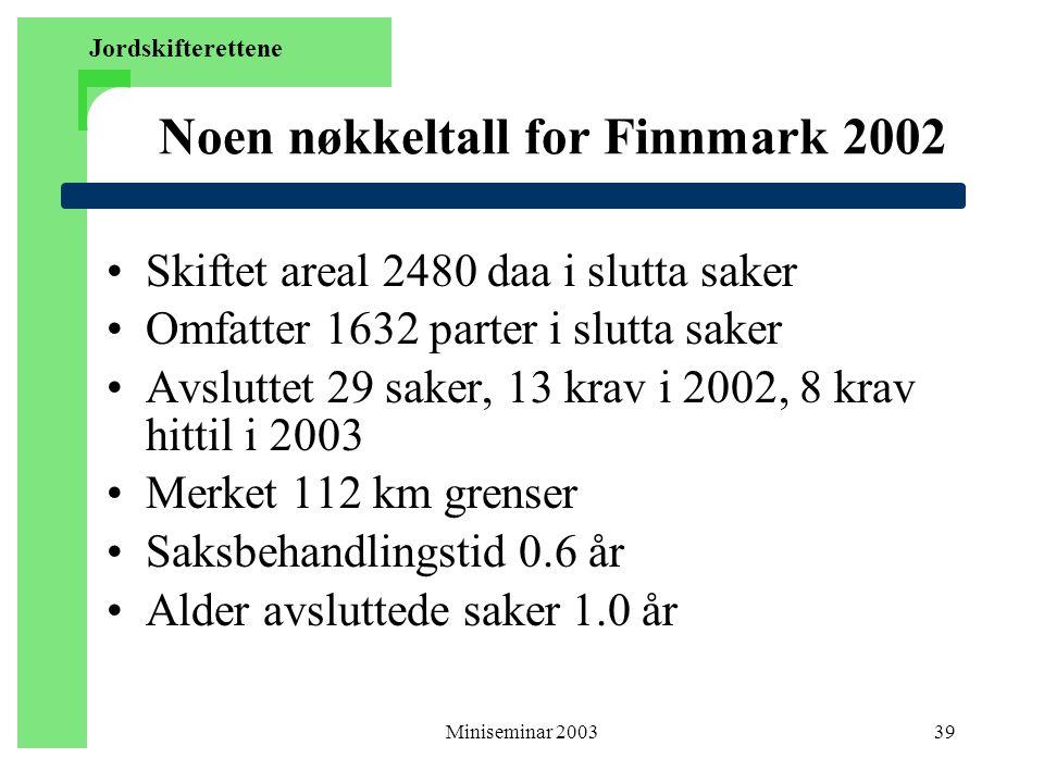 Noen nøkkeltall for Finnmark 2002