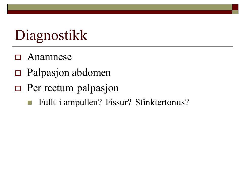 Diagnostikk Anamnese Palpasjon abdomen Per rectum palpasjon