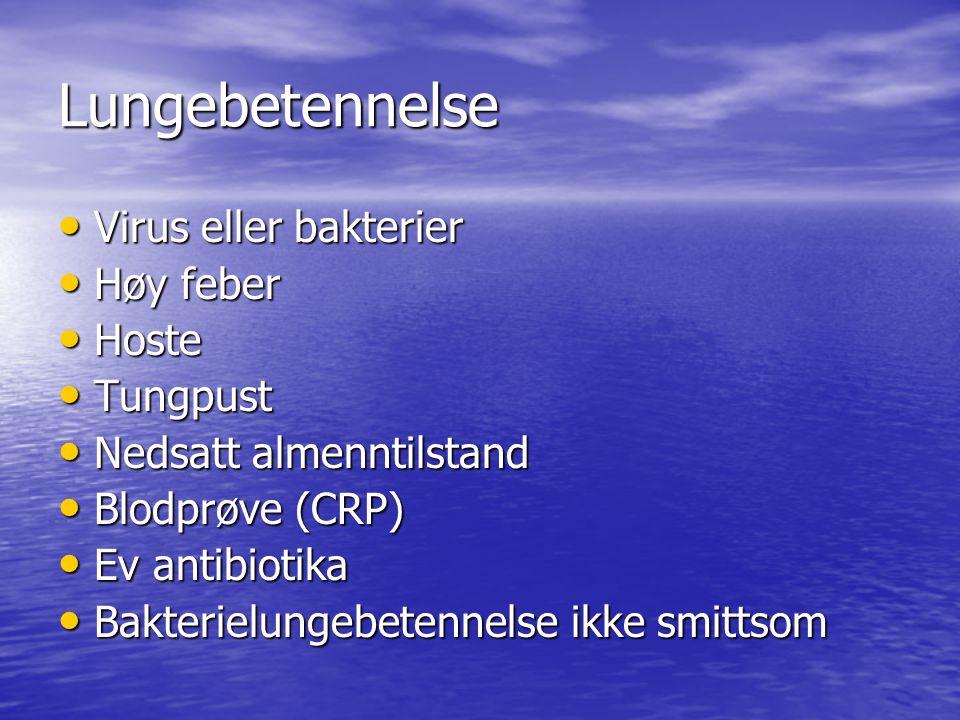 Lungebetennelse Virus eller bakterier Høy feber Hoste Tungpust