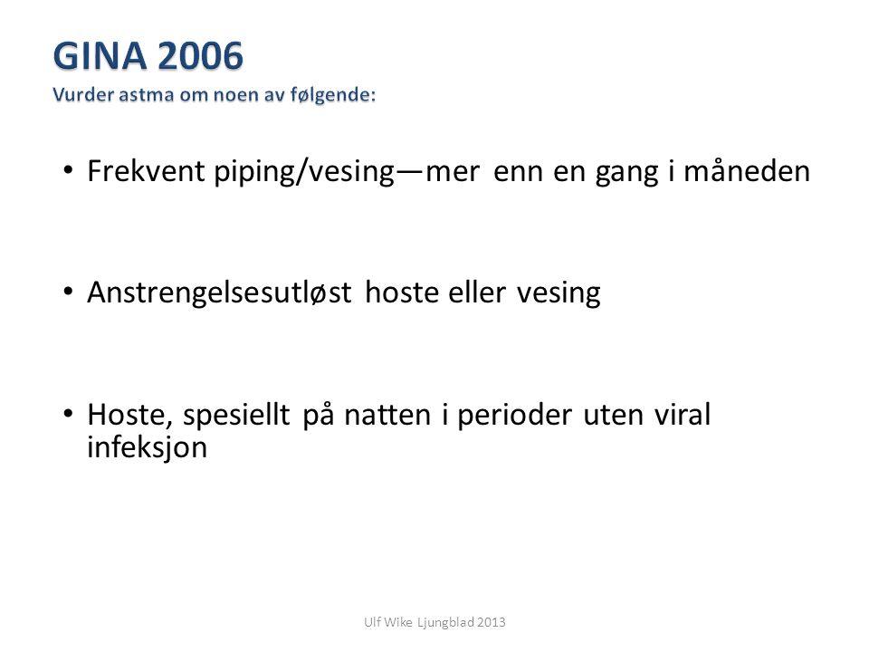 GINA 2006 Vurder astma om noen av følgende: