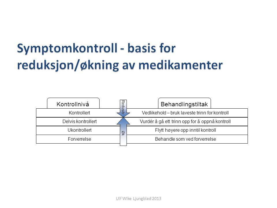 Symptomkontroll - basis for reduksjon/økning av medikamenter