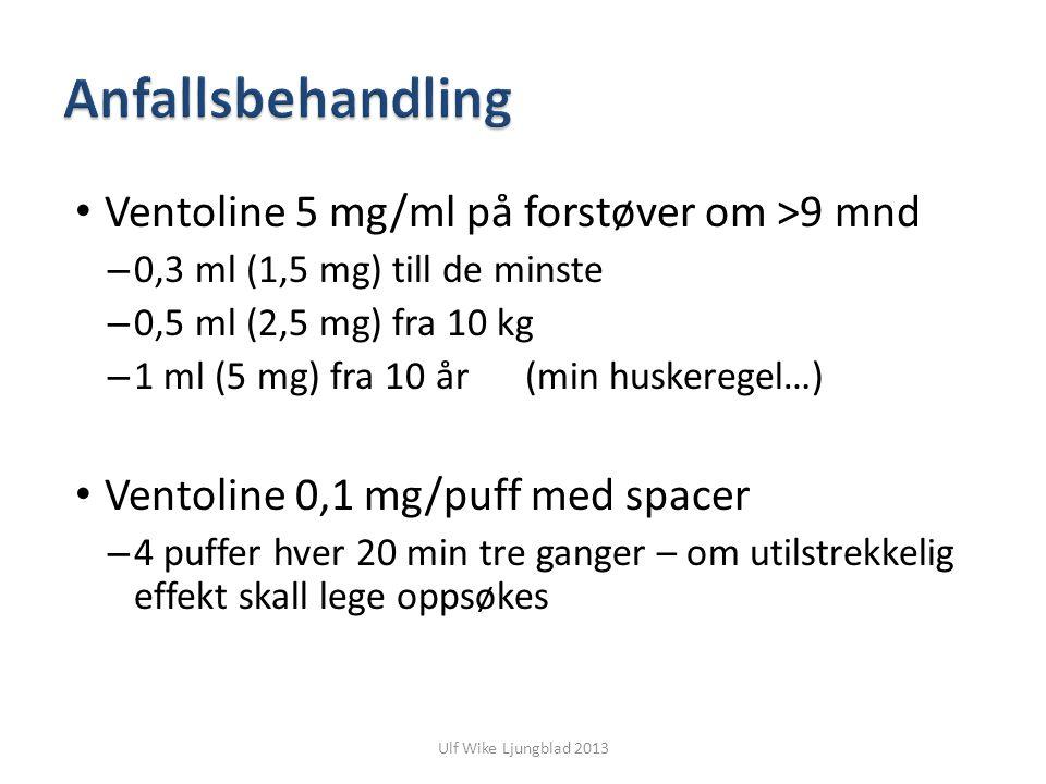 Anfallsbehandling Ventoline 5 mg/ml på forstøver om >9 mnd
