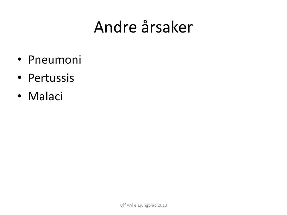 Andre årsaker Pneumoni Pertussis Malaci Ulf Wike Ljungblad 2013