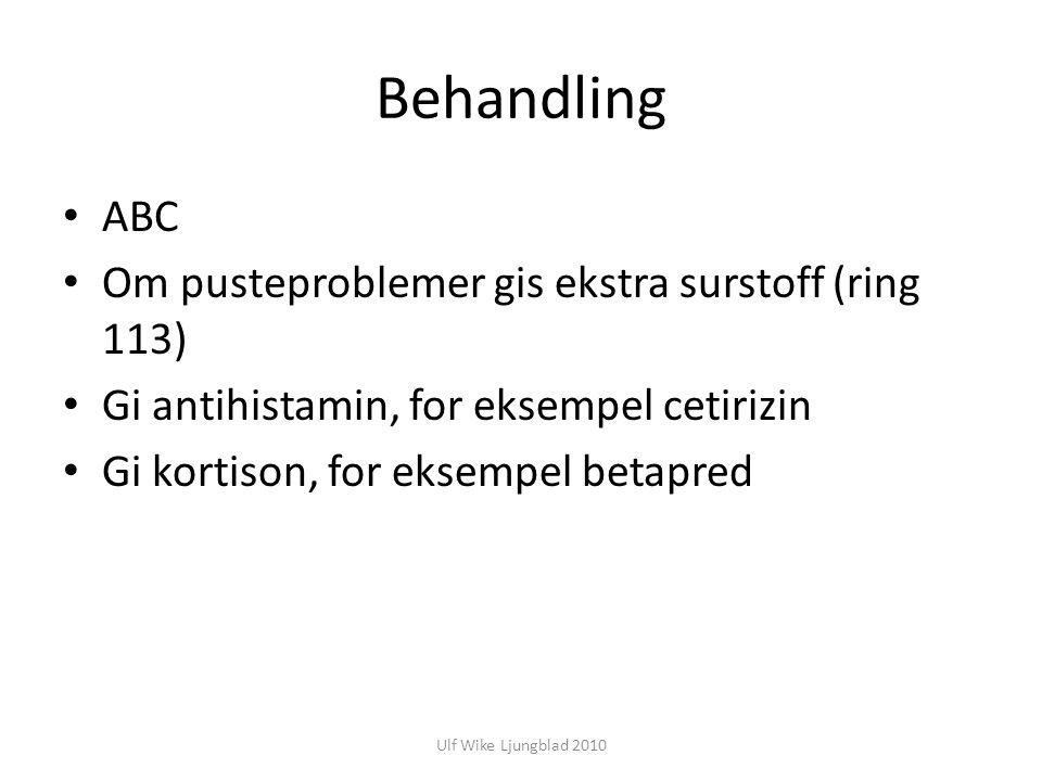 Behandling ABC Om pusteproblemer gis ekstra surstoff (ring 113)