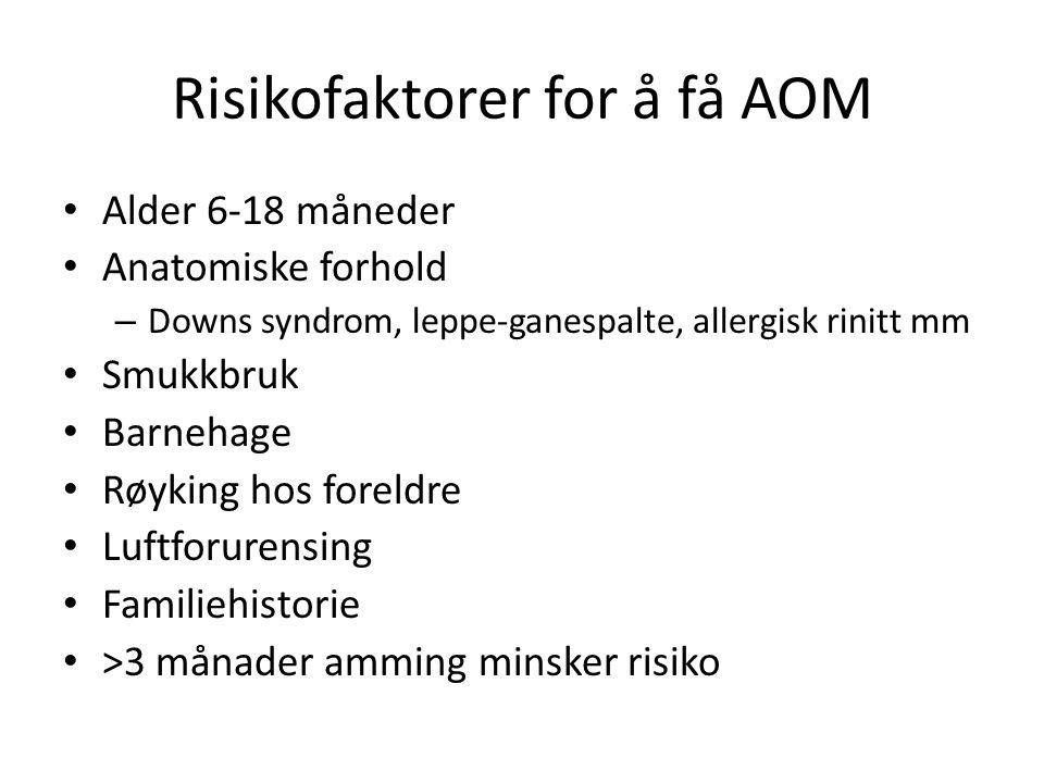 Risikofaktorer for å få AOM