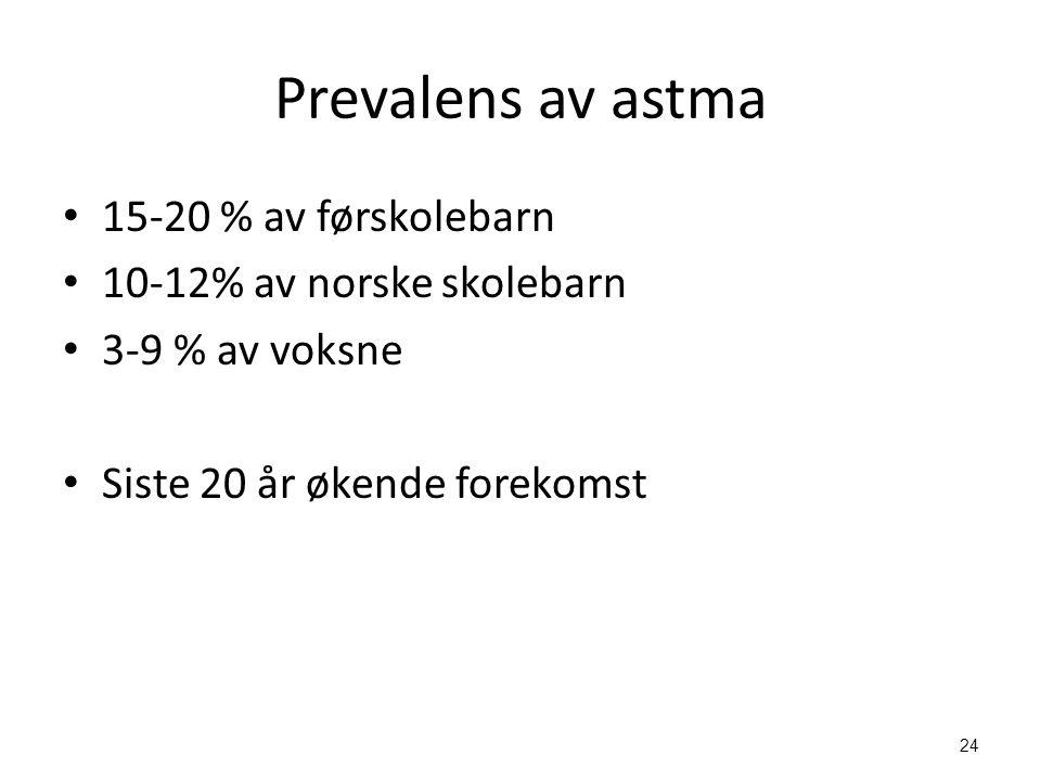 Prevalens av astma 15-20 % av førskolebarn 10-12% av norske skolebarn