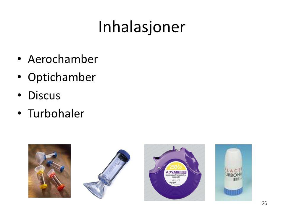 Inhalasjoner Aerochamber Optichamber Discus Turbohaler