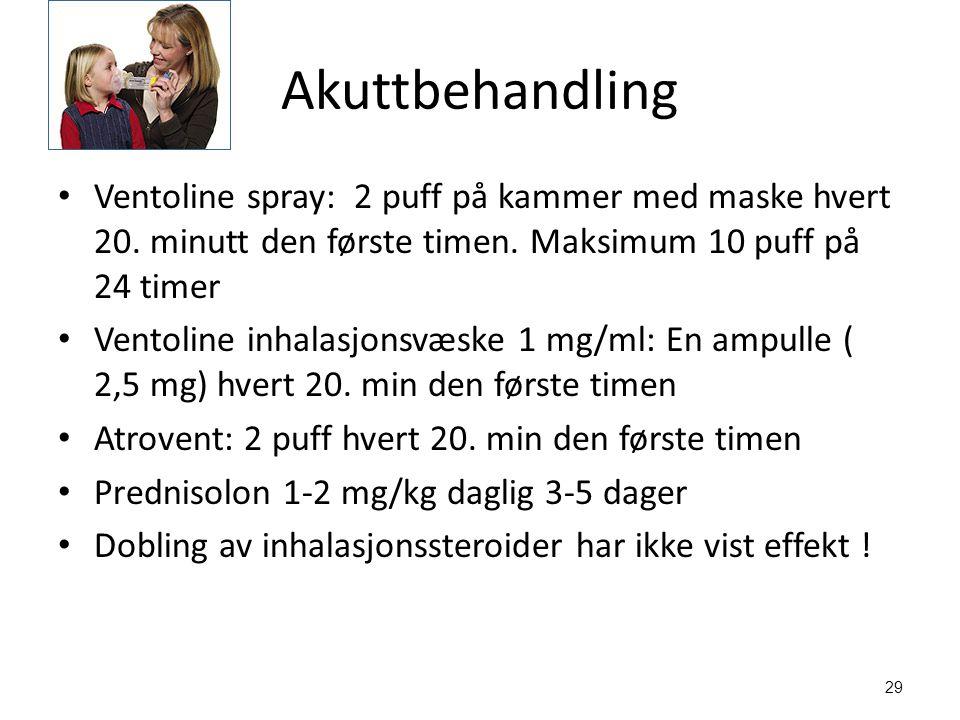 Akuttbehandling Ventoline spray: 2 puff på kammer med maske hvert 20. minutt den første timen. Maksimum 10 puff på 24 timer.