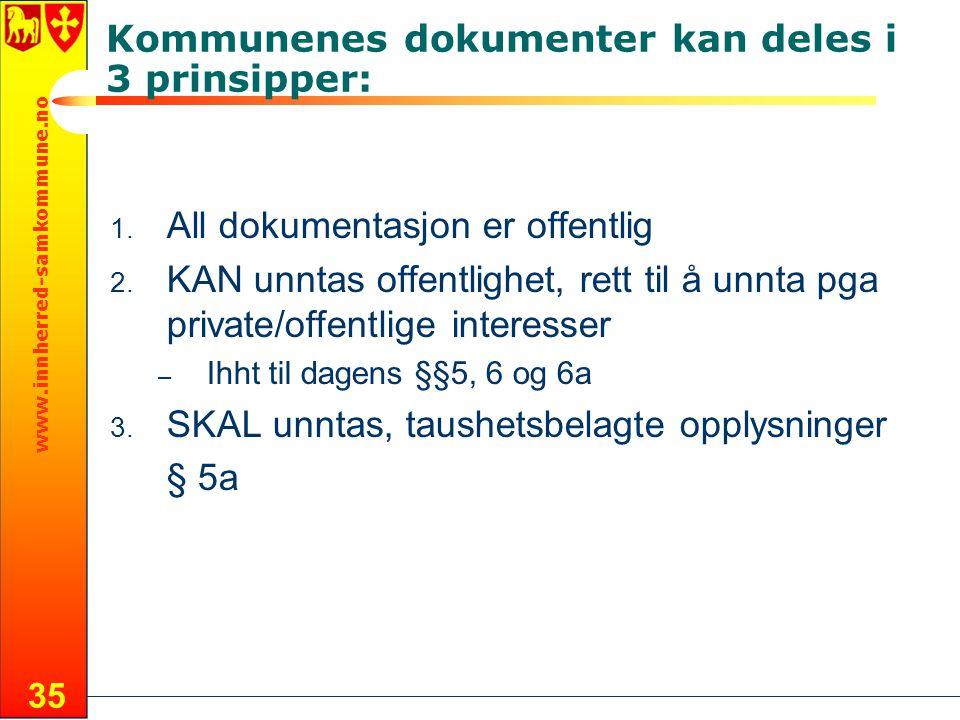 Kommunenes dokumenter kan deles i 3 prinsipper: