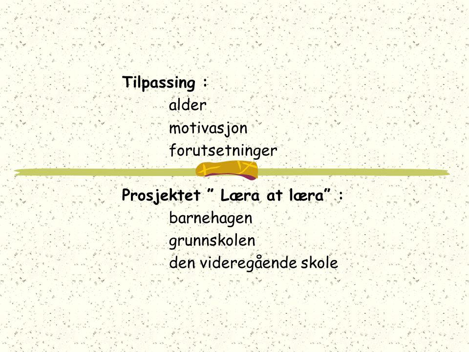 Tilpassing : alder. motivasjon. forutsetninger. Prosjektet Læra at læra : barnehagen. grunnskolen.