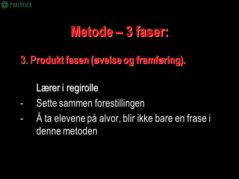 Metode – 3 faser: 3. Produkt fasen (øvelse og framføring).