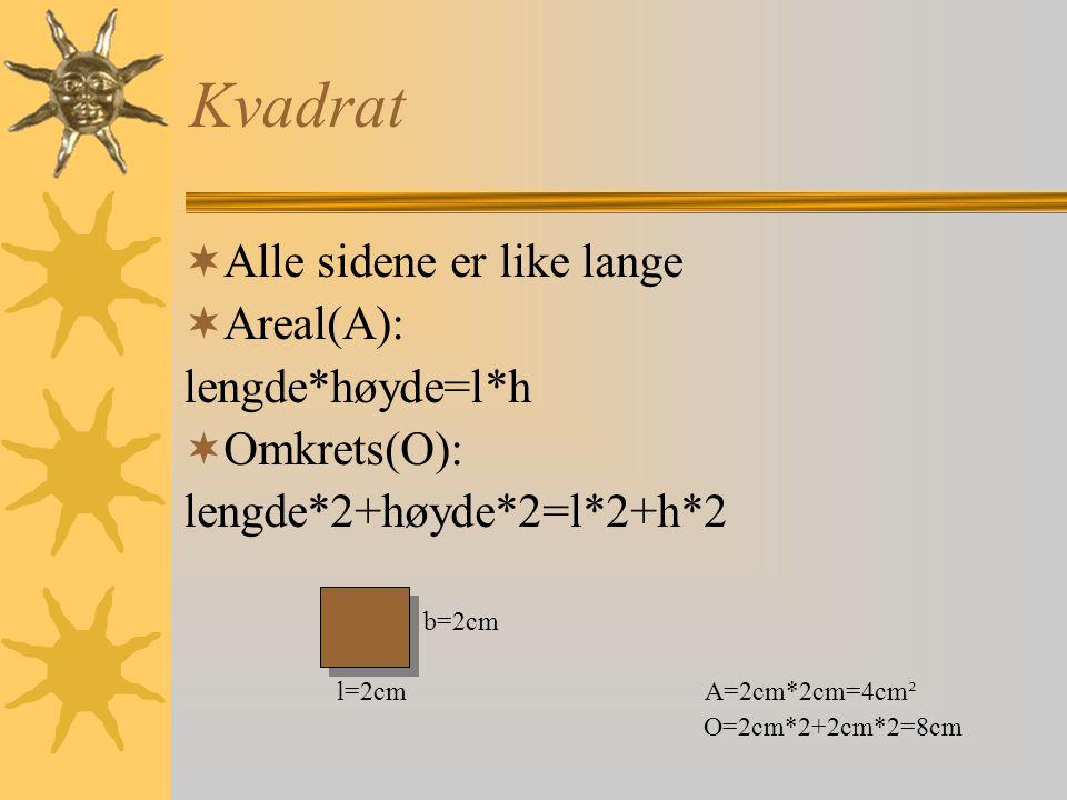 Kvadrat Alle sidene er like lange Areal(A): lengde*høyde=l*h
