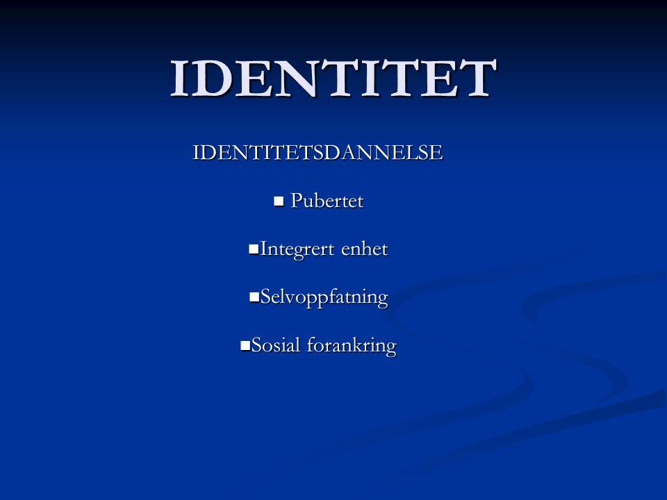 IDENTITET IDENTITETSDANNELSE Pubertet Integrert enhet Selvoppfatning