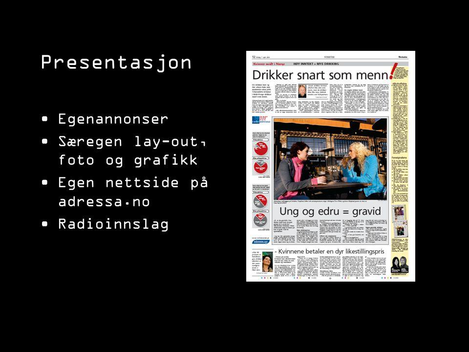 Presentasjon Egenannonser Særegen lay-out, foto og grafikk