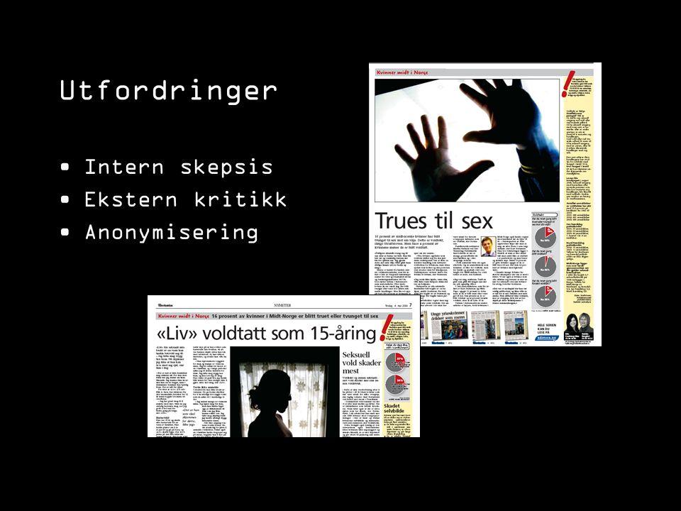 Utfordringer Intern skepsis Ekstern kritikk Anonymisering