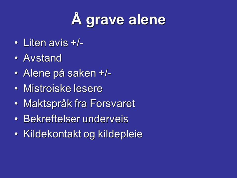 Å grave alene Liten avis +/- Avstand Alene på saken +/-