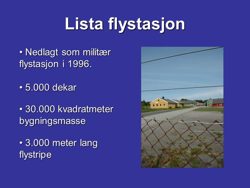 Lista flystasjon Nedlagt som militær flystasjon i 1996. 5.000 dekar