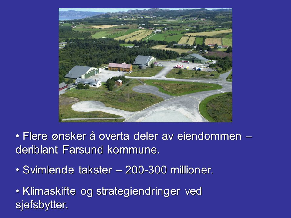 Flere ønsker å overta deler av eiendommen – deriblant Farsund kommune.