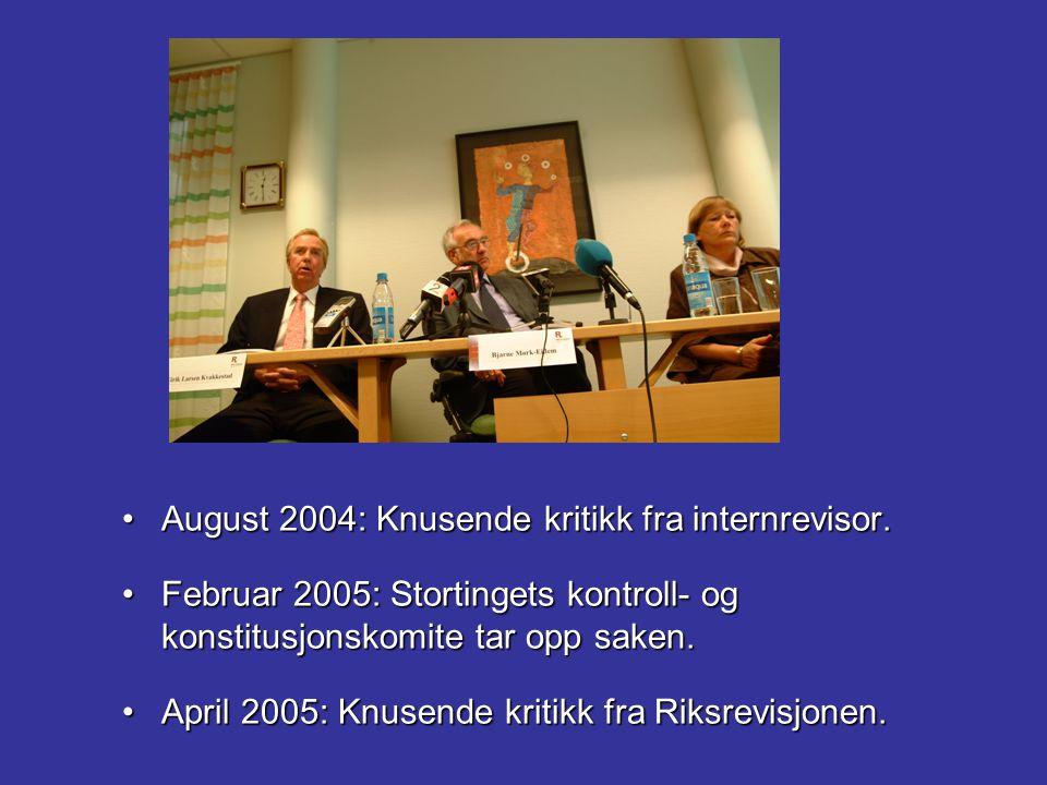 August 2004: Knusende kritikk fra internrevisor.
