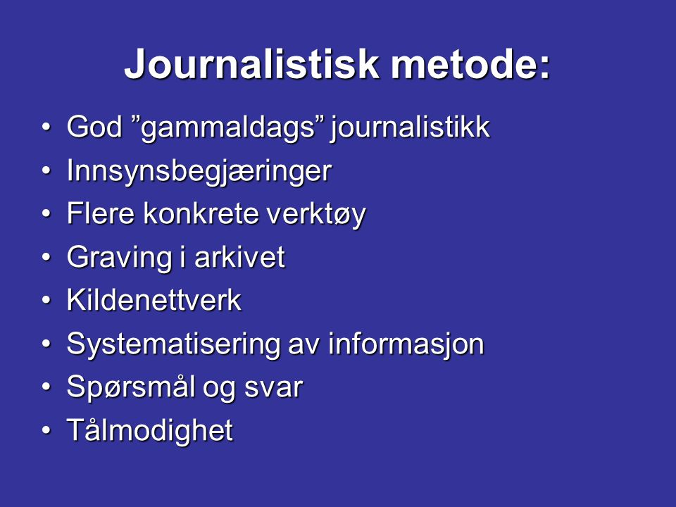 Journalistisk metode: