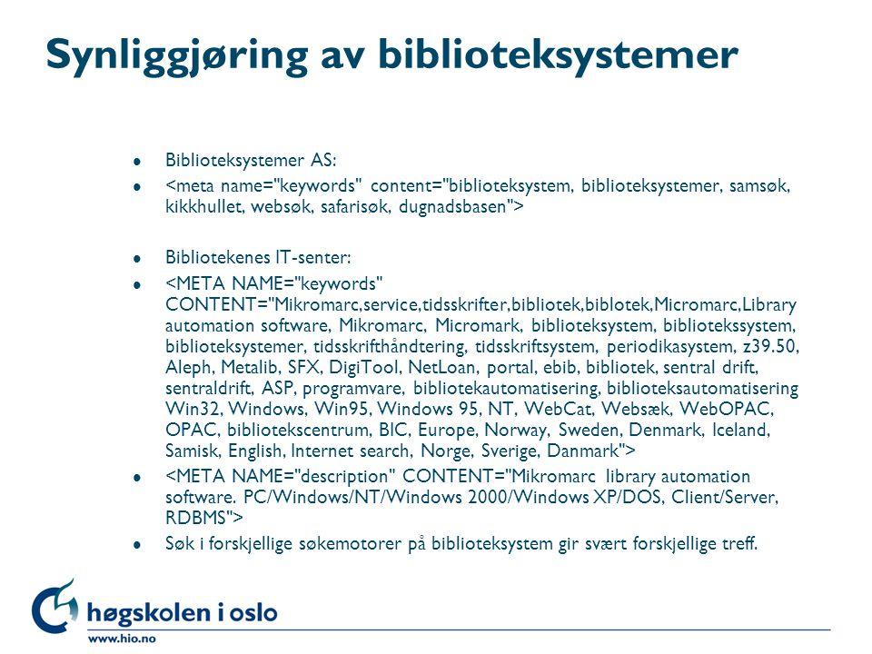Synliggjøring av biblioteksystemer