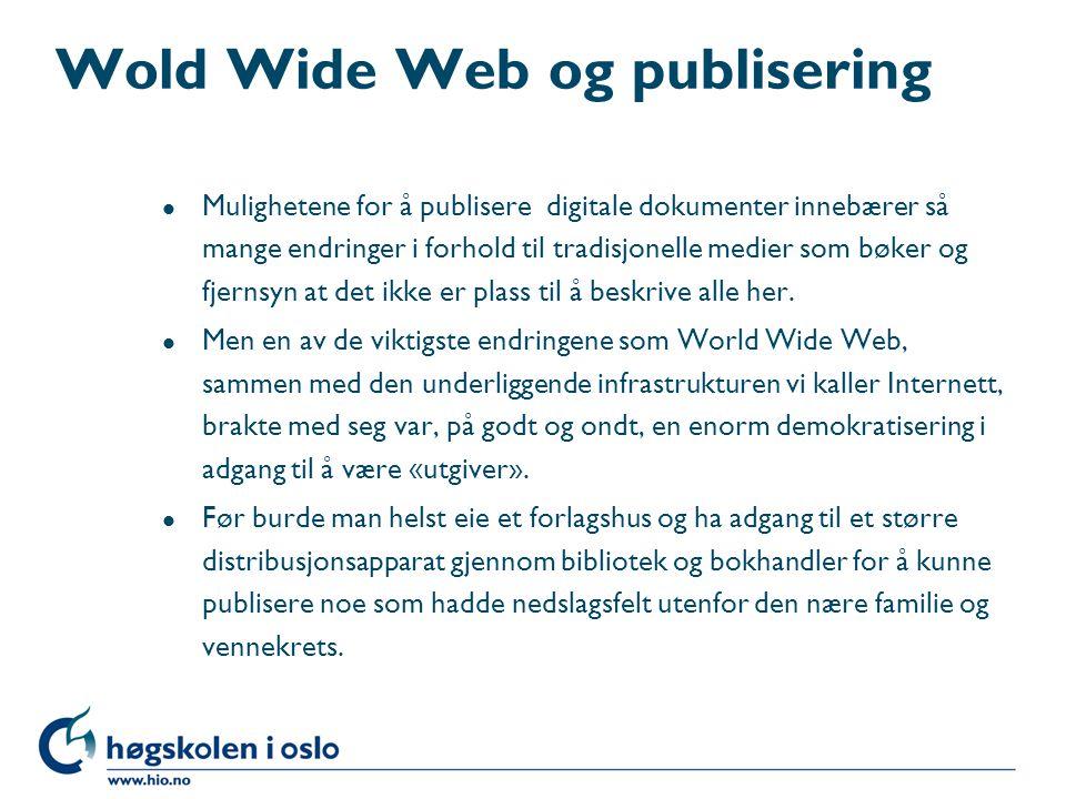 Wold Wide Web og publisering