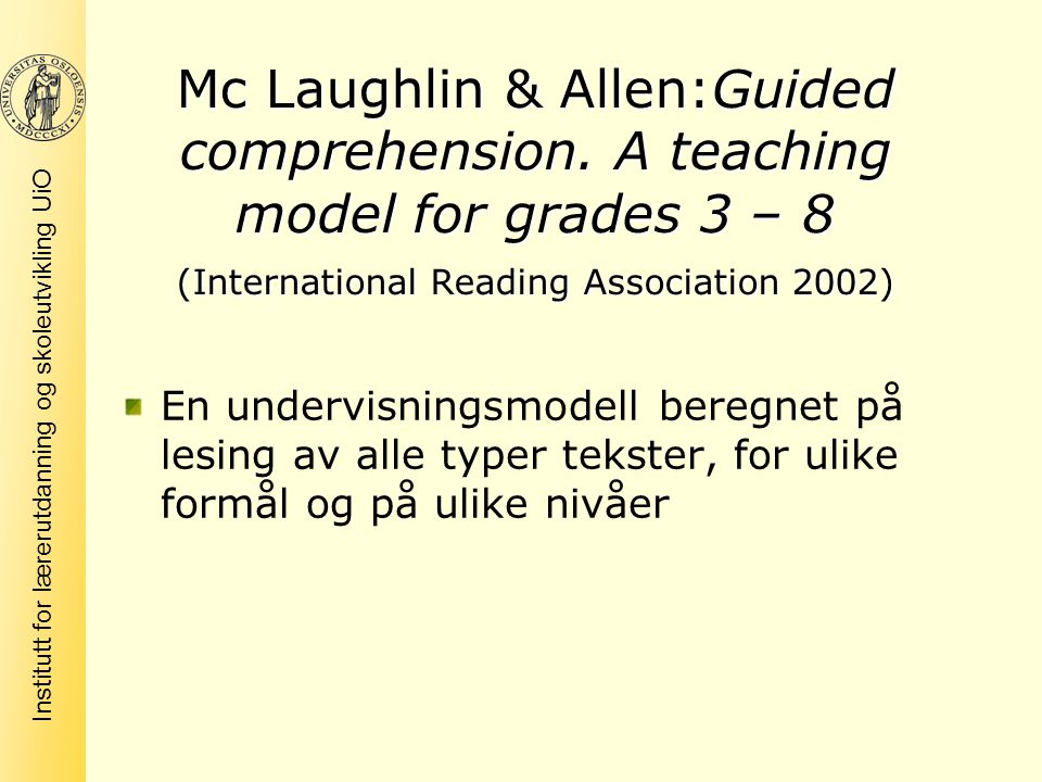 Mc Laughlin & Allen:Guided comprehension