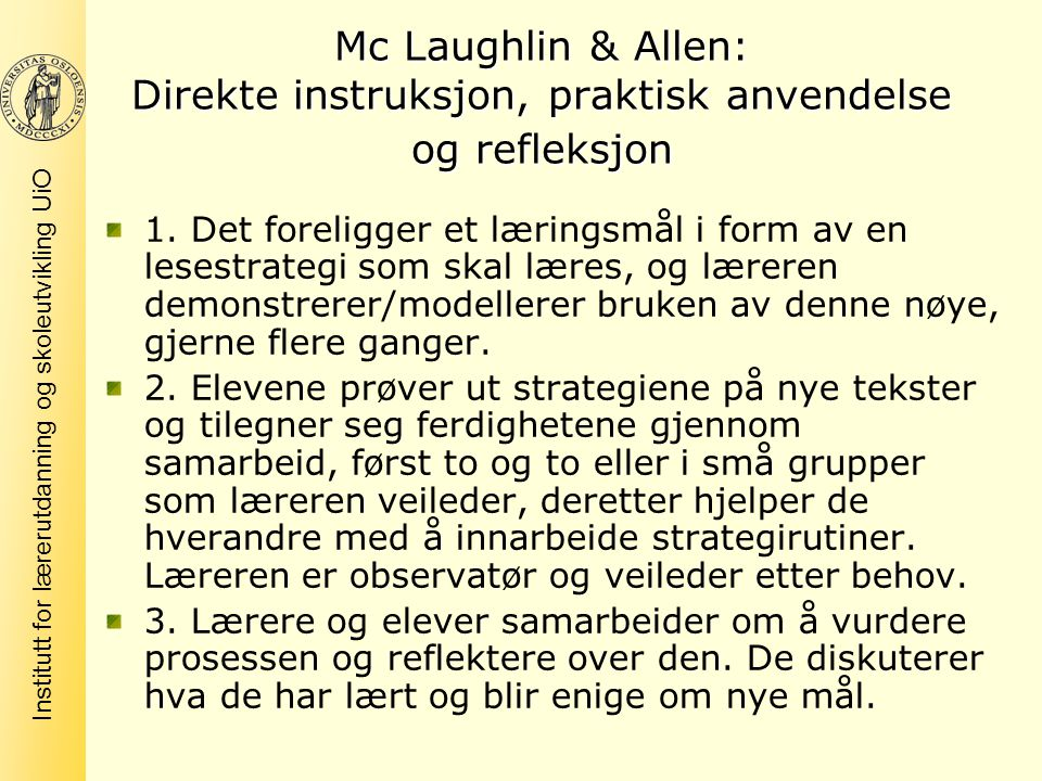 Mc Laughlin & Allen: Direkte instruksjon, praktisk anvendelse og refleksjon