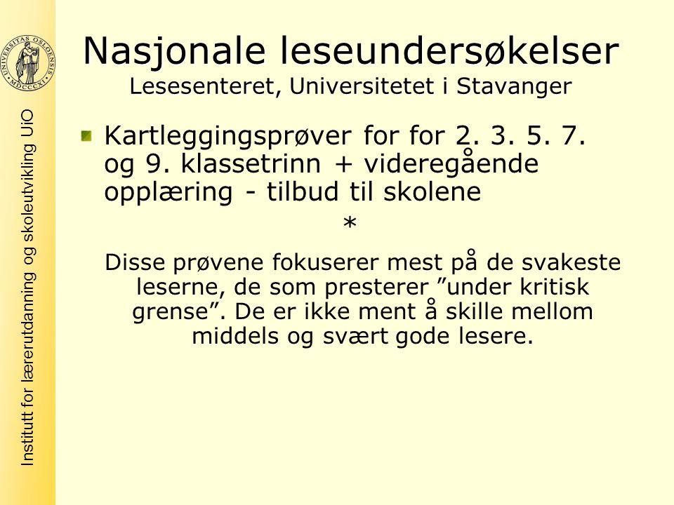 Nasjonale leseundersøkelser Lesesenteret, Universitetet i Stavanger