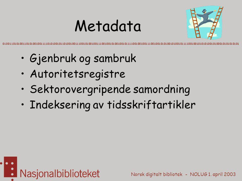 Metadata Gjenbruk og sambruk Autoritetsregistre