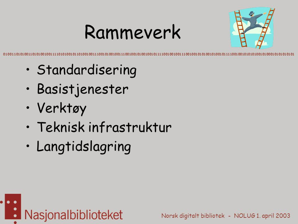 Rammeverk Standardisering Basistjenester Verktøy Teknisk infrastruktur