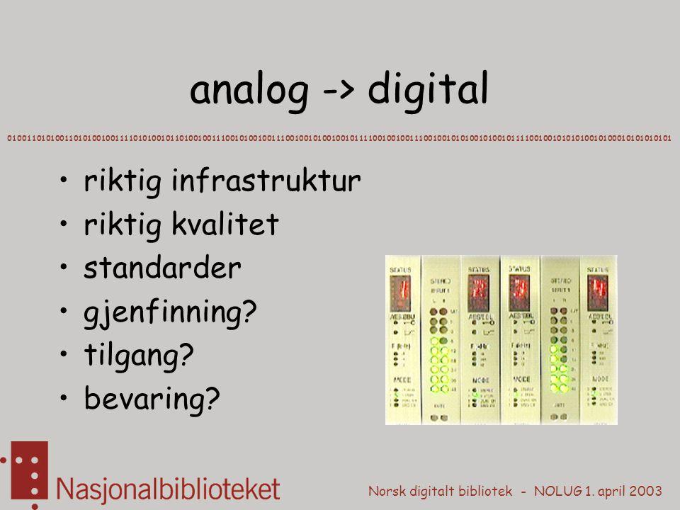 analog -> digital riktig infrastruktur riktig kvalitet standarder