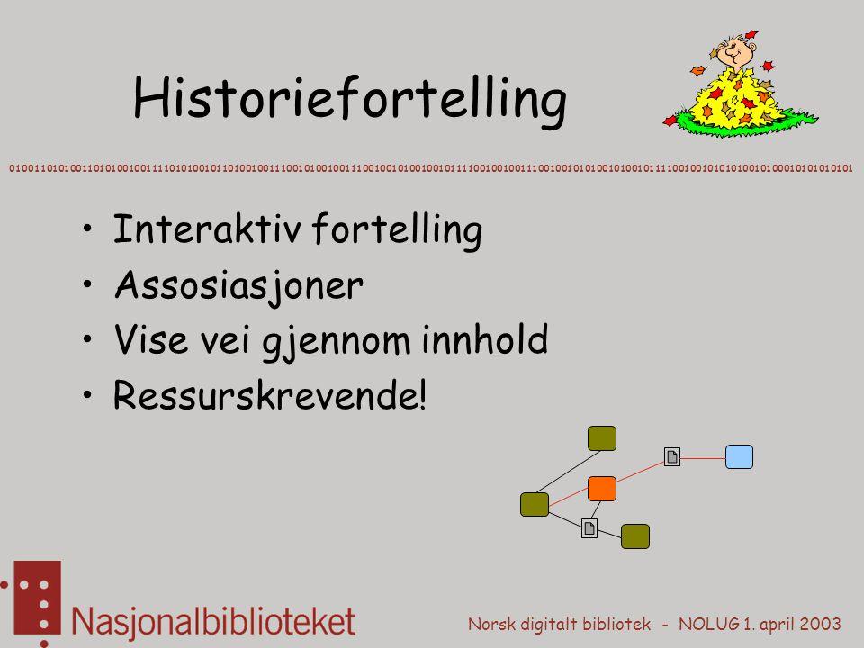 Historiefortelling Interaktiv fortelling Assosiasjoner