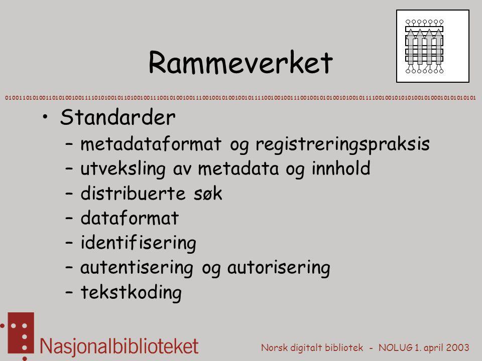 Rammeverket Standarder metadataformat og registreringspraksis