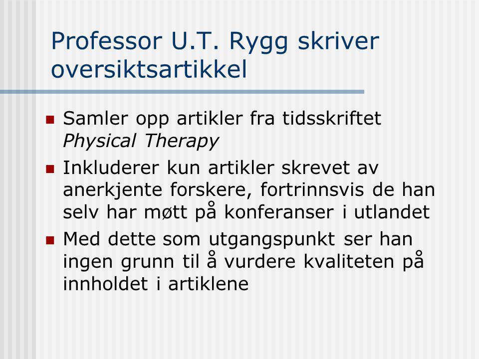 Professor U.T. Rygg skriver oversiktsartikkel