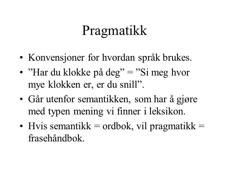 Pragmatikk Konvensjoner for hvordan språk brukes.