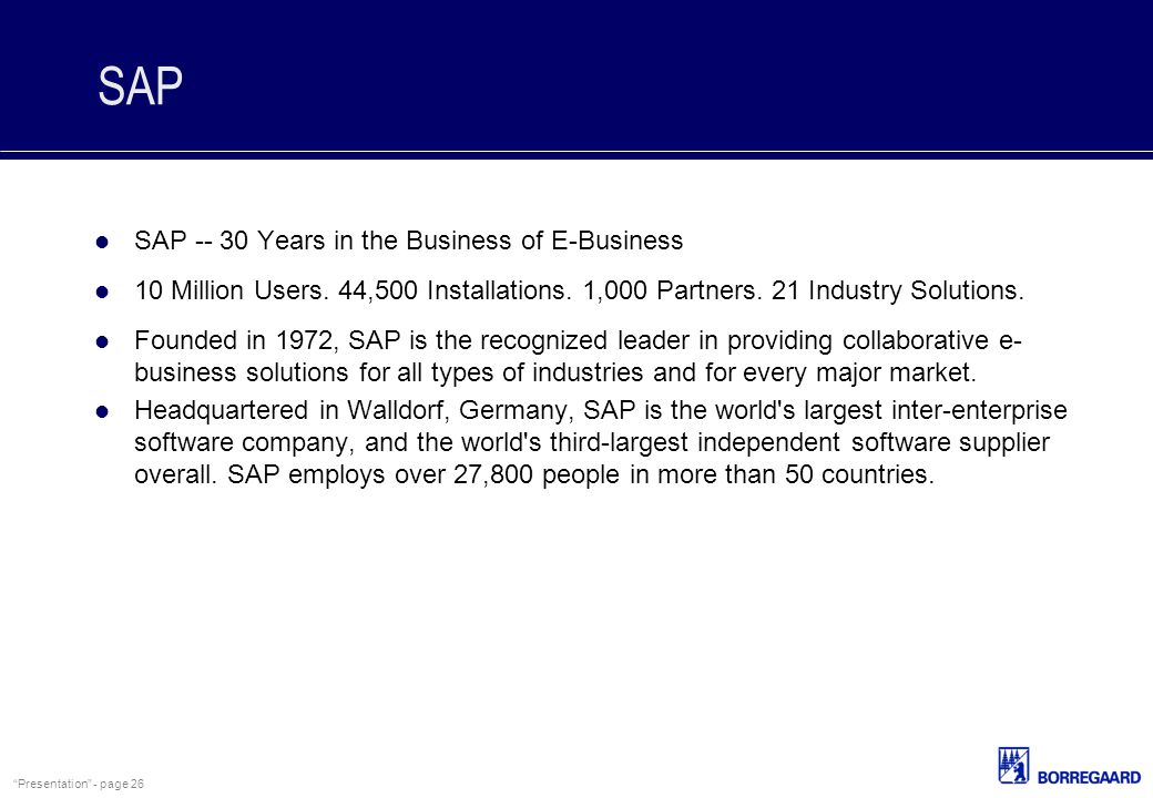SAP SAP -- 30 Years in the Business of E-Business