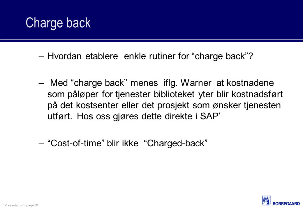 Charge back Hvordan etablere enkle rutiner for charge back