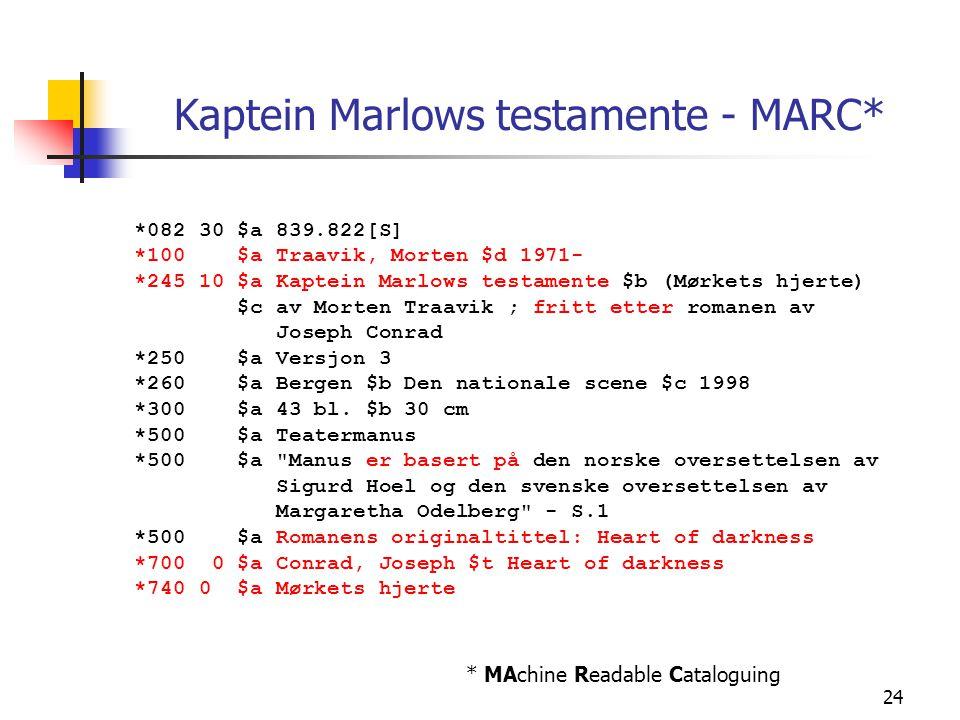 Kaptein Marlows testamente - MARC*