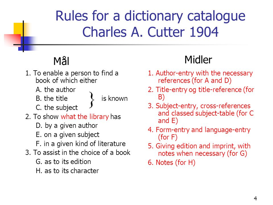 Rules for a dictionary catalogue Charles A. Cutter 1904