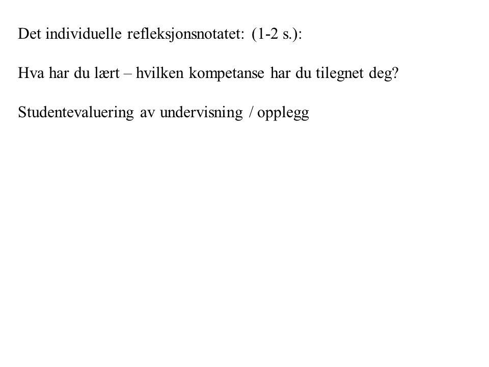 Det individuelle refleksjonsnotatet: (1-2 s.):