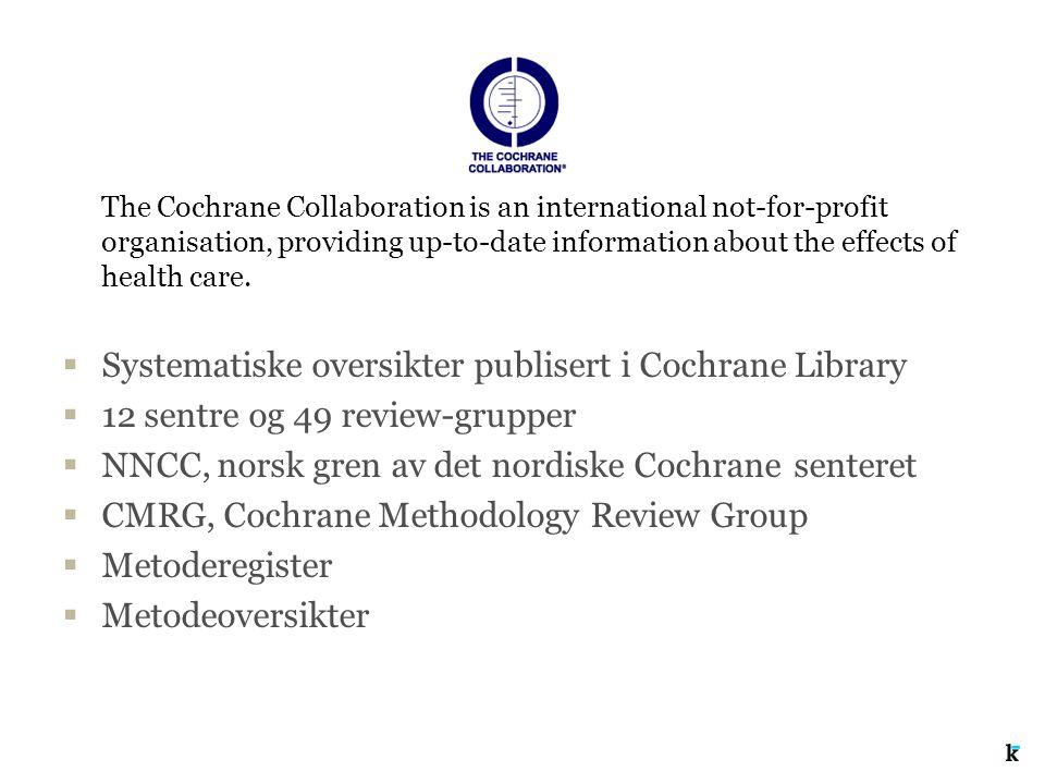 Systematiske oversikter publisert i Cochrane Library