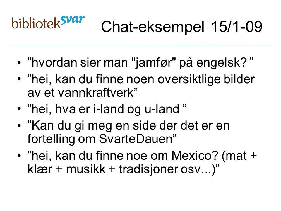 Chat-eksempel 15/1-09 hvordan sier man jamfør på engelsk