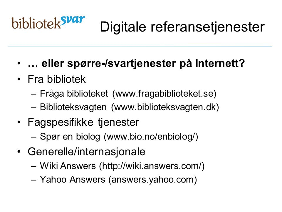 Digitale referansetjenester