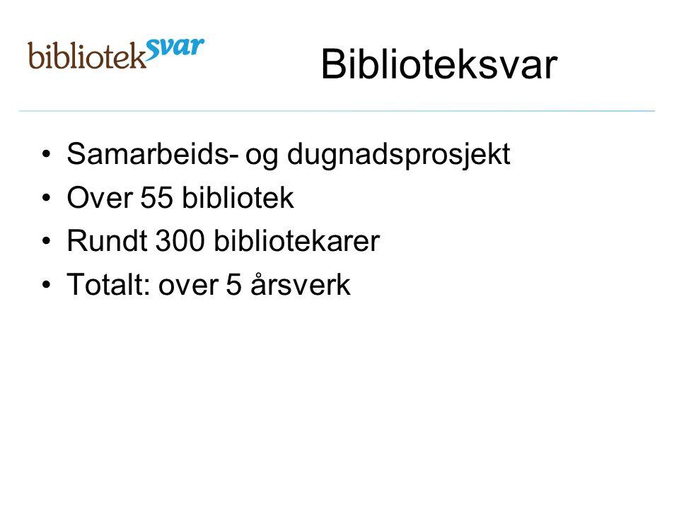 Biblioteksvar Samarbeids- og dugnadsprosjekt Over 55 bibliotek
