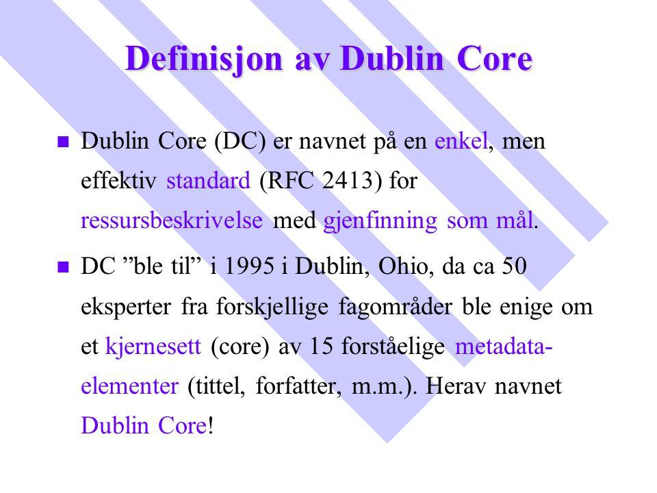 Definisjon av Dublin Core