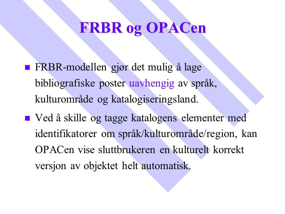FRBR og OPACen FRBR-modellen gjør det mulig å lage bibliografiske poster uavhengig av språk, kulturområde og katalogiseringsland.