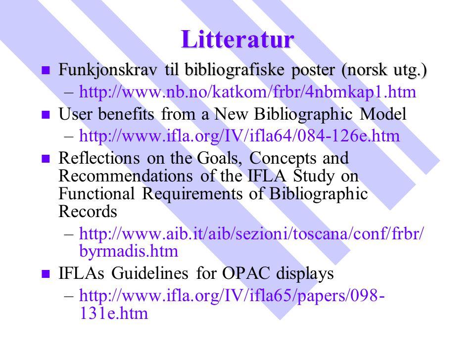 Litteratur Funkjonskrav til bibliografiske poster (norsk utg.)